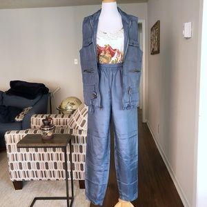 3/$25 Vintage Silk Hiking Pants and Vest Set